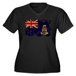 Cayman Islands Flag Women's Plus Size V-Neck Dark