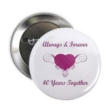 "40th Anniversary Heart 2.25"" Button"