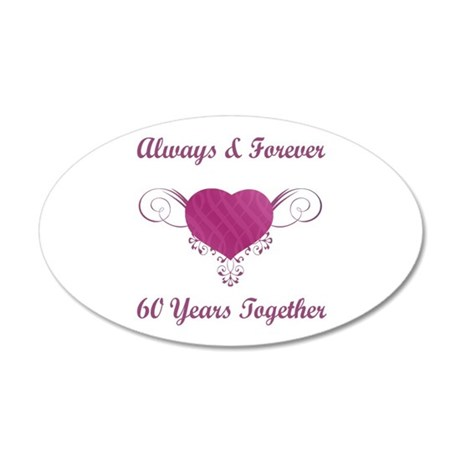 60th Anniversary Heart 22x14 Oval Wall Peel