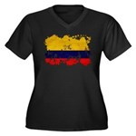 Colombia Flag Women's Plus Size V-Neck Dark T-Shir