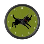 Black Labrador Retriever Large Wall Clock