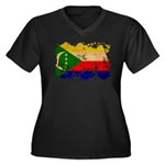 Comoros Flag Women's Plus Size V-Neck Dark T-Shirt
