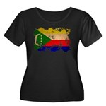 Comoros Flag Women's Plus Size Scoop Neck Dark T-S