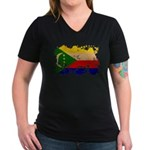Comoros Flag Women's V-Neck Dark T-Shirt