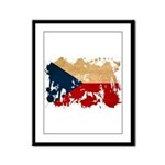 Czech Republic Flag Framed Panel Print
