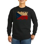 Czech Republic Flag Long Sleeve Dark T-Shirt