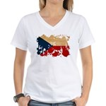 Czech Republic Flag Women's V-Neck T-Shirt
