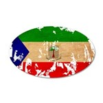 Equatorial Guinea Flag 38.5 x 24.5 Oval Wall Peel