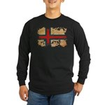 Faroe Islands Flag Long Sleeve Dark T-Shirt