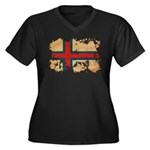 Faroe Islands Flag Women's Plus Size V-Neck Dark T