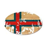 Faroe Islands Flag 38.5 x 24.5 Oval Wall Peel