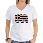Greece Flag Women's V-Neck T-Shirt