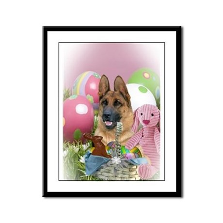 German Shepherd Easter Day Framed Panel Print