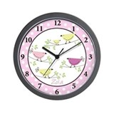 Penelope Pink Black Plastic Frame Wall Clock Zola