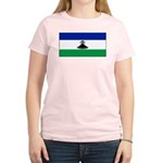 New Lesotho Flag Blank Women's Pink T-Shirt