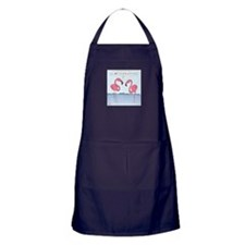 Pink Flamingos Cartoon Apron (dark)