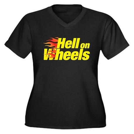 hell on wheels Women's Plus Size V-Neck Dark T-Shi