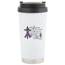 Autism ribbon with Cross Travel Mug