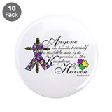 Autism ribbon with Cross 3.5&amp;quot; Button (10 pack