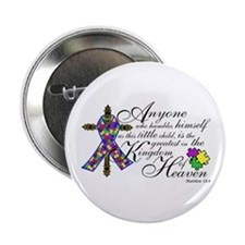 "Autism ribbon with Cross 2.25"" Button"