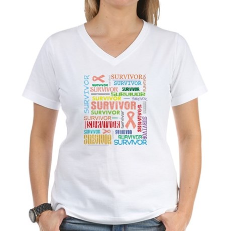 Uterine Cancer Survivor Women's V-Neck T-Shirt