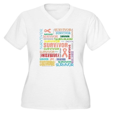 Uterine Cancer Survivor Women's Plus Size V-Neck T