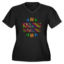 Reading is Awesome Women's Plus Size V-Neck Dark T