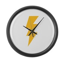 Yellow Flash Lightning Bolt Large Wall Clock