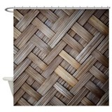 Brown Basket Weave Shower Curtain