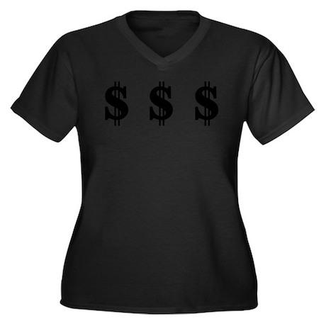 Dollar signs Women's Plus Size V-Neck Dark T-Shirt