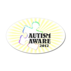 Autism Aware 2012 38.5 x 24.5 Oval Wall Peel