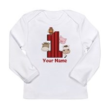 1st Birthday Farm Long Sleeve Infant T-Shirt