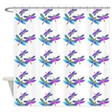 Iridescent Dragonflies on White Shower Curtain