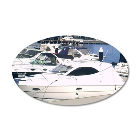Boating at Docklands Marina M 38.5 x 24.5 Oval Wal