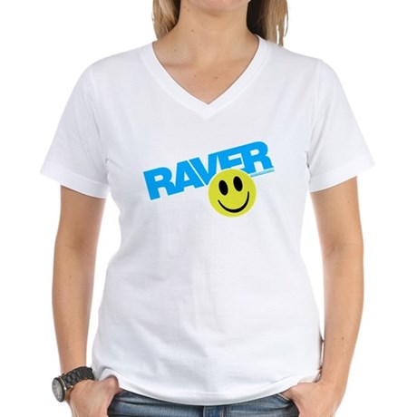 Raver Smilie Women's V-Neck T-Shirt