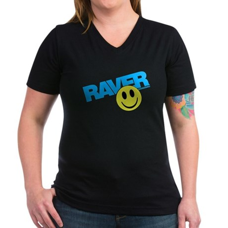Raver Smilie Women's V-Neck Dark T-Shirt
