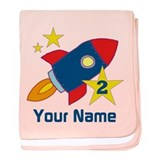 2nd Birthday Rocket baby blanket
