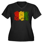 Guinea Flag Women's Plus Size V-Neck Dark T-Shirt