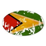Guyana Flag Sticker (Oval 50 pk)