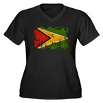 Guyana Flag Women's Plus Size V-Neck Dark T-Shirt
