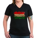 Hungary Flag Women's V-Neck Dark T-Shirt