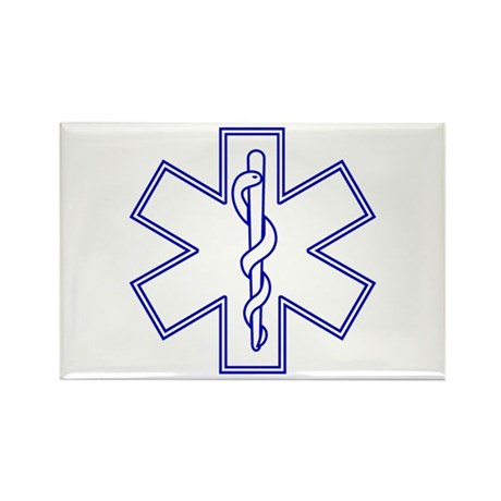 Blue Star of Life (outline) Rectangle Magnet (100