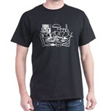 Dogs White on Black T-Shirt