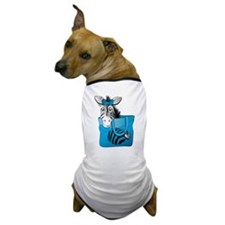 Zebra in a blue bag Dog T-Shirt