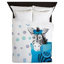 Zebra in a blue bag Queen Duvet