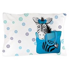 Zebra in a blue bag Pillow Case