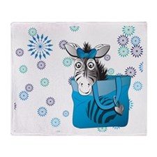 Zebra in a blue bag Throw Blanket