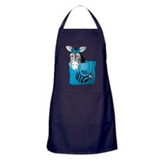 Zebra in a blue bag Apron (dark)