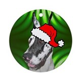 SANTA PAWS Great Dane Ornament (Round)