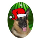 SANTA PAWS GSD Ornament (Oval)